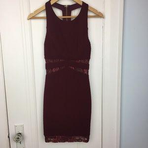 Lush Lace Inset T-Back Maroon Dress